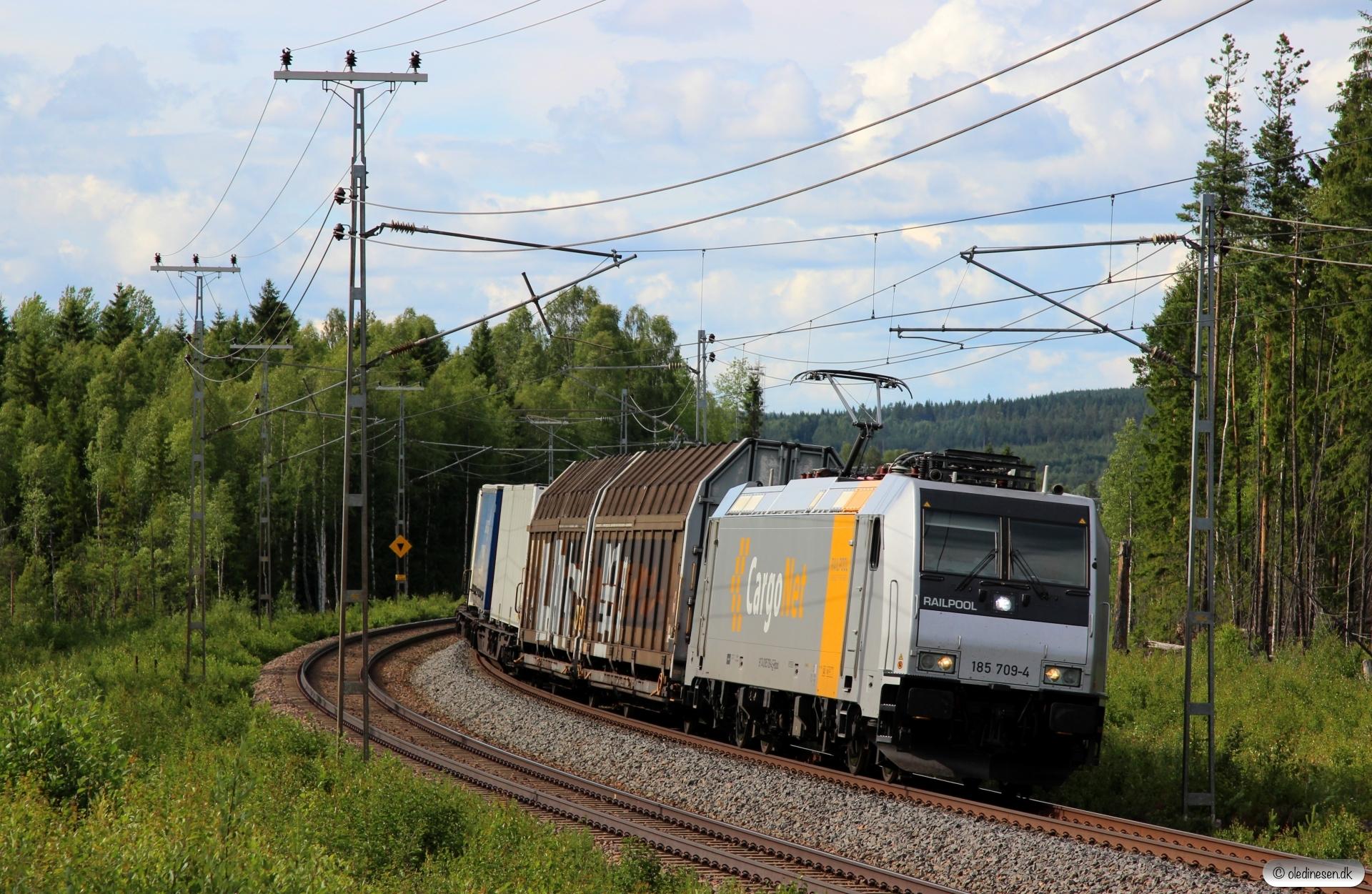 CN 185 709-4 med GT 41917. Östevall - Juån 18.06.2018.