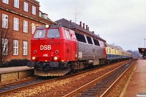DSB MZ 1416 med IC 432 Fa-Flb. Kolding 10.02.1990.
