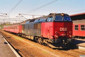 DSB MZ 1453+B+AB+B som P 462 Kh-Hg. Helsingør 07.05.1991.