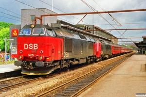 DSB MZ 1455+ME 1503+B+B+Bn+Bn-v+ABns+B+AB+BD som Re 325 Kh-Ge. Roskilde 29.06.1991.