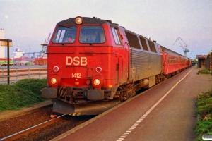 DSB MZ 1412+4 B+BD+Bcm+Bcm+WLABr som IR 590 Fh-Kh. Frederikshavn 01.07.1993.