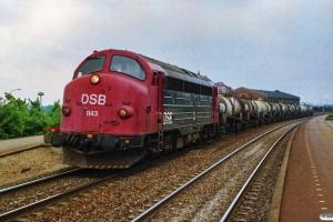DSB MY 1143+9 Superfos tankvogne som G 8235 Fa-Ns. Skanderborg 26.06.1990.