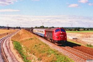 DSB MY 1129 med G 8250 Pa-Hl (militærtog). Taulov 07.09.1991.