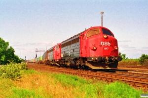 DSB MY 1147+MY 1148 med G 9222 Rfø-Gb. Rødby Færge Øst 22.06.1992.