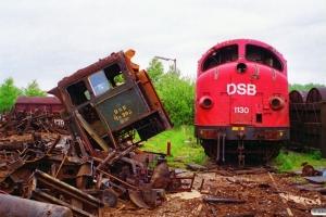DSB MH 308 og MY 1130 ved Henriksen. Århus 26.05.1995.