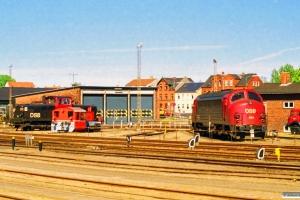 DSB MT 155, Køf (ex. LJ M 13) og MY 1154. Nyborg Færge 30.05.1997.