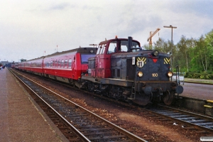 DSB MT 160 bag på IC 164 Es-Kh. Nyborg 16.04.1990.