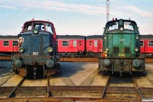 DSB MT 167 og MH 406. Nyborg Færge 08.09.1990.