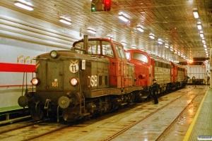 DSB MT 161+MY 1121+MY 1123+MY 1128 ombord på Dronning Ingrid. Nyborg Færge 28.12.1993.