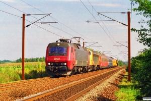 DSB EA 3015+90 86 00-21 108-4+Målevogn 002+WLABm 461+Målevogn 001+Ks+Rs som M 8427 Gb-Oj. Km 165,2 Kh (Odense-Holmstrup) 01.09.1997.