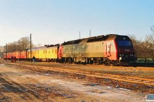 DSB ADns 518+Bn 710+Målevogn 001+ME 1527 som M 8117 Ap-Md. Årup 16.01.1991.