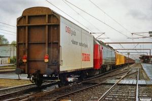 DSB ADns+Bn+Bn-v+Bn-n+Bn+BDan+BDan+BD+målevogn 002+ME 1515+Hios-v er netop ankommet fra Marslev. Kørsel i sporspærring Marslev-Odense. Odense 01.05.1991.