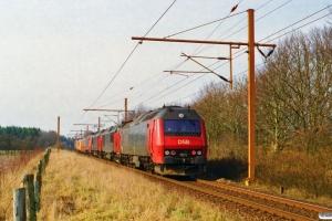 DSB EA 3006+Målevogn 001+WRm 601+EA 3005+MZ 1458+MZ 1453+ME 1515 som M 8417 Pa-Oj. Km 98,7 Fa (Tinglev-Vejbæk) 24.03.1997.