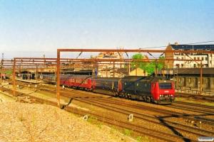 DSB ME 1510+WLABr+Bn-o+WRm+Bcm+2 WLABr+2 Bcm+2 WLABr+2 Bcm som IR 590 Fh-Kh. Roskilde 31.05.1997.