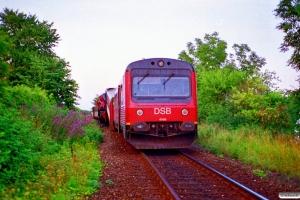 DSB MR 4068+MRD 4268 og MR 4066+MRD 4266. RV 3756 Hr-Fa (4268+4068) og RV 3741 Fa-Hr (4066+4266) kørte frontalt sammen. Jelling 01.08.1995.