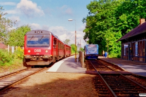 DSB MR/D 86 som RV 2824 Od-Svg og LNJ Lm 21 som RV 2825 Svg-Od. Fruens Bøge 12.09.1996.