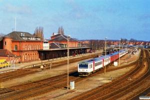 DSB MR/D 66+MR/D 55+MR/D 71+MR/D 48 som RV 3129 Ngf-Ab. Nyborg 30.03.1997.