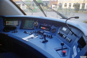 Førerrummet i DSB MQ 4951. Svendborg 15.08.2001.