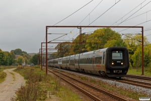 DSB ET 42+Skåne X31K 32+X31K 34 som M 6688 Te-Kh. Årup 06.10.2018.