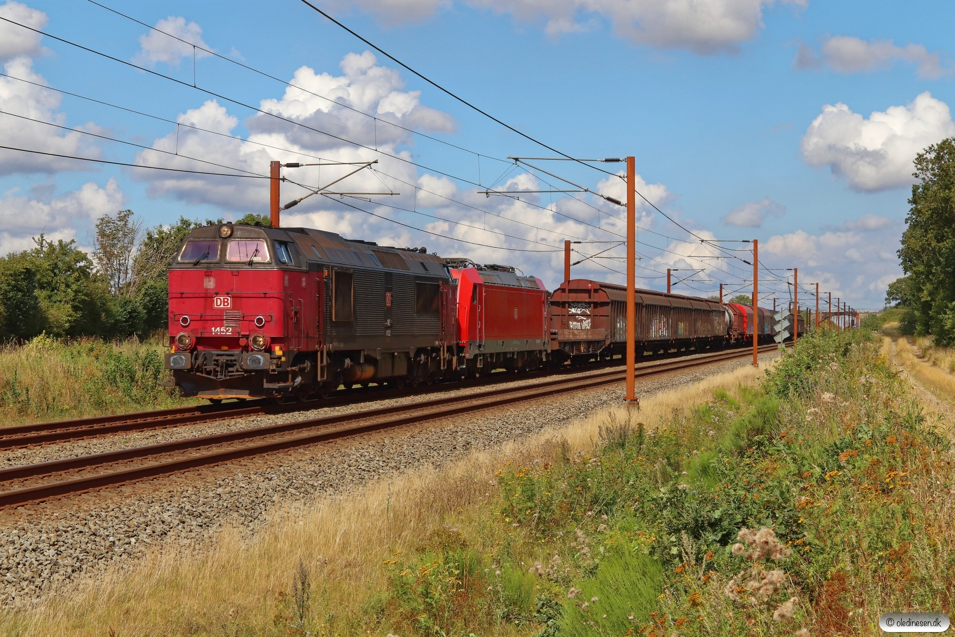 DBCSC MZ 1452+DB 185 326-3 med G 44753 Fa-Pa. Km 50,2 Fa (Farris-Sommersted) 19.08.2020.