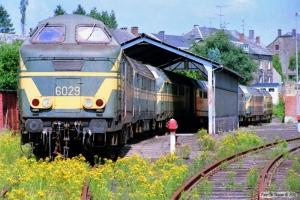 SNCB 6029, 6035X, 6066, 6065, 6058, 6041 og 6033 hensat. Gouvy 12.07.1989.