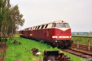 DR 118 121-3, 118 150-2 og 195 605-5 hensat. Haldensleben 20.05.1991.