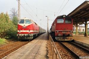 DR 119 160-0 med Tog 5360 og 120 321-5. Bad Kleinen 27.10.1990.