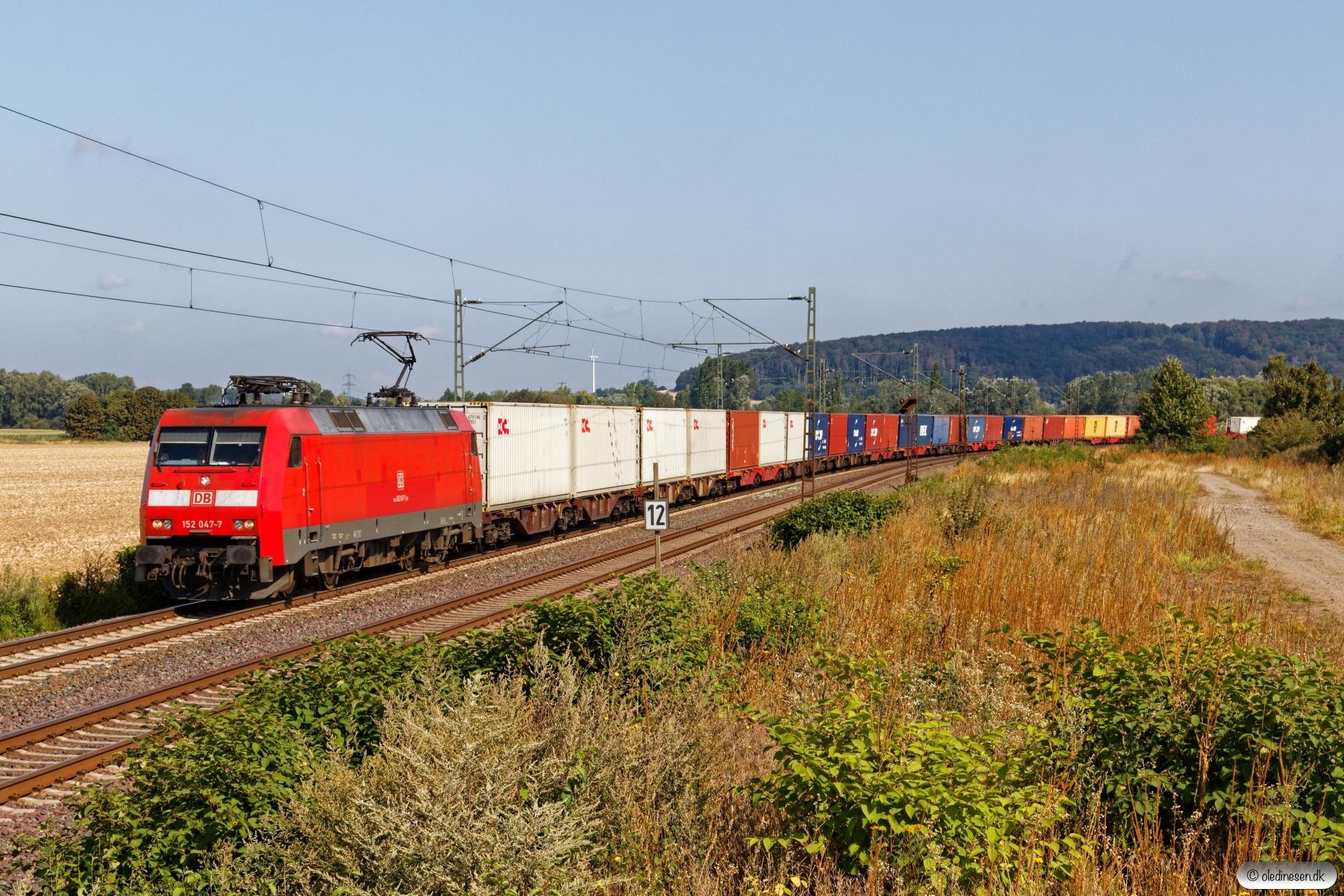 DB 152 047-7 med Tog 50345. Nordstemmen - Elze 14.08.2019.