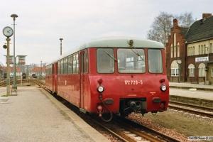 DR 172 720-5+172 120-8 som Tog 4312. Neuruppin 28.03.1991.