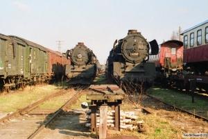 DR 50 3624-9 og 50 3685-0. Perleberg Süd 29.03.1991.