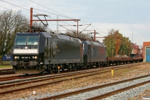 MRCE 185 557-6+185 552-7 med Tog 95142 Pa-Neumünster. Padborg 23.10.2010.