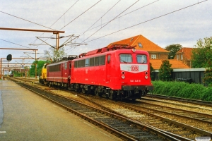 DSB MK 601+DB 155 155-5+140 346-8 - Maskiner fra GD 45760. Padborg 11.09.1997.