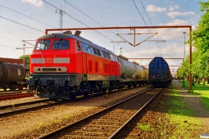 DB 218 176-6+sprøjtetog. Padborg 08.07.1999.