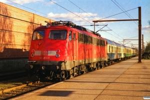 DB 110 376-1+Bm+ABom+BDms+110 452-0 som RE 35099 Pa-Flensburg. Padborg 05.04.2000.