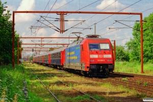 DB 101 036-2+Bc-t 313+318+316+315+311+WSD 002 som IP 13289. Padborg 29.06.2001.