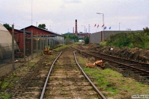 Sporombygning på risten ved Carlsberg depotet. Odense 02.09.1988.