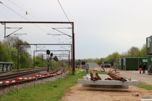 Oplagsplads og skurvognsby i Årup i forbindelse med sommerens sporarbejder 09.05.2015.
