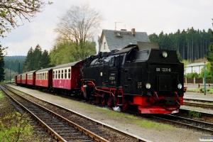 DR 99 7231-6 med Tog 14446. Drei Annen Hohne 18.05.1991.