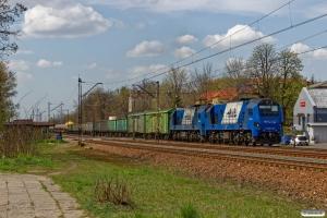 PKPLS ST40s-23+ST40s-16+34 godsvogne. Olkusz 25.04.2019 kl. 13.22.