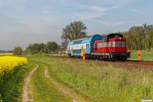 PREG SU42-518 med materieltog til Gorzów Wielkopolski. Kamień Mały - Witnica 12.05.2017.