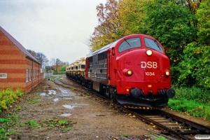 DSB MX 1034+sukkervogne som Rangertræk Ac-Tp. Knarreborg 21.10.1989