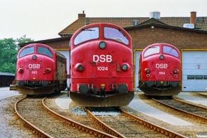 DSB MY 1123, MX 1024 og MY 1154. Padborg 30.06.1990.