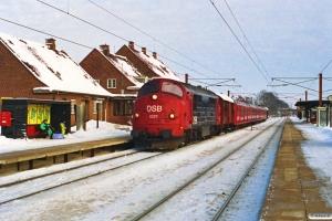 DSB MX 1027+Gs+S-tog+Gs som G 6851 Htå-Ar. Ringsted 16.02.1991.