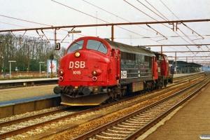 DSB MX 1015+MH 351 som M 6015 Gb-Kj. Roskilde 12.04.1992.