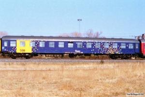 DSB Måleledsagevogn 61 86 99-69 007-8. Nyborg 16.04.1996.