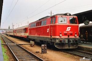 ÖBB 2143 029-3 med Tog 2706. Wiener Neustadt 13.04.1991.