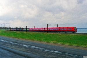 DSB SA 05+DB ICE shutz 60 80 99-26 457-4+DSB ME 1517+EA 3019+B 332+Målevogn 002+WRm 601+Generatorvogn 200+DB ICE shutz 60 80 99-26 458-2 som Rangertræk Ng-Kø. Km 128,4 Kh (Sprogø-Nyborg) 05.11.1996.