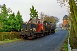 DSB MT 152+EVA tankvogn. Nyborg 03.04.1999.