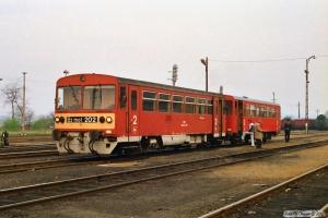 MÁV Bz mot 202+Bzx 50 55 24-28 634-6 som Tog 9557. Tapolca 14.04.1991.