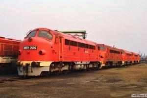 MÁV M61 005, M61 011, M61 001, M61 018 og M61 020. Tapolca 14.04.1991.